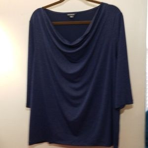 Navy shimmer, 3/4 length sleeve, cowl neck top